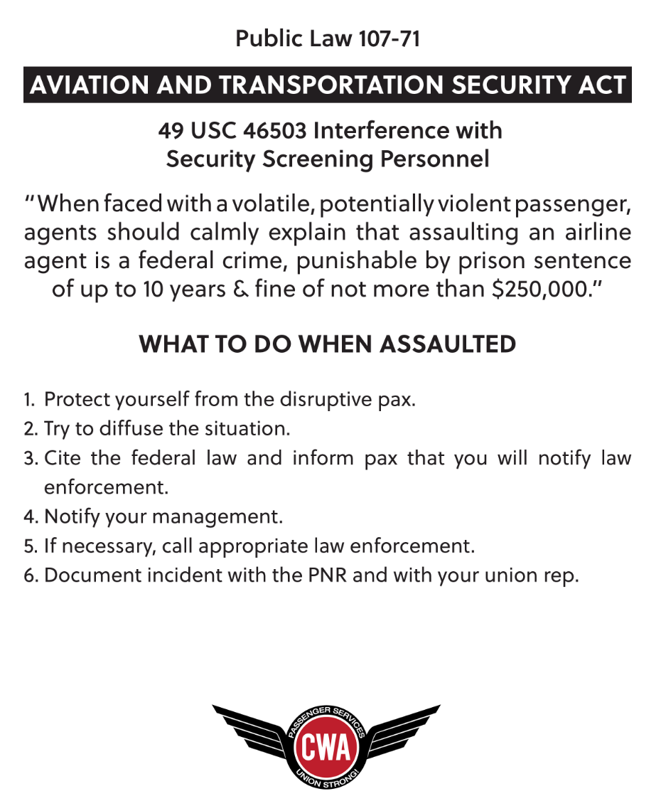 Aviation and Transportation Security Act POSTER